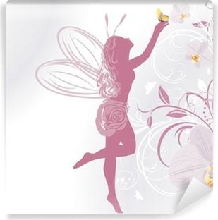 Vinylová Fototapeta Víla a motýl na dekorativní pozadí s orchidejemi