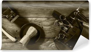 Vinylová fototapeta Vintage sada Barbershop.Toning sépie