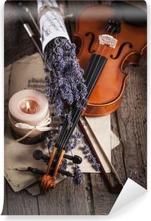 Vinylová Fototapeta Vintage složení s houslemi a levandule