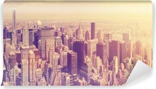 Vinylová Fototapeta Vintage tónovaný Manhattan panorama při západu slunce, NYC, USA.