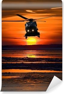 Vinylová Fototapeta Vrtulník při západu slunce