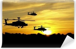 Vinylová Fototapeta Vrtulník siluety na západ slunce na pozadí