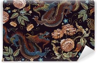 Vinylová fototapeta Vyšívání vintage čínské draky a květiny pivoňky bezešvé  vzor. klasické vyšívání asijských draků 2180c3d7d7