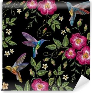 Vinylová fototapeta Výšivka humming pták a divoké růže 08d5c5e823