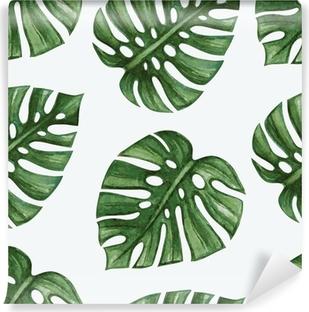 Vinylová Fototapeta Watercolor tropical palm leaves seamless pattern. Vector illustration.