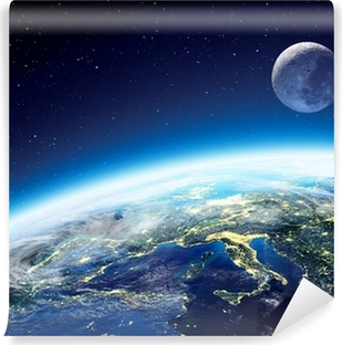 Fototapeta winylowa Widok Ziemi i Księżyca z kosmosu w nocy - Europa