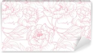 374cea96c235fb Fototapeta winylowa Wzór, ręcznie rysowane zarys różowe kwiaty piwonii na białym  tle