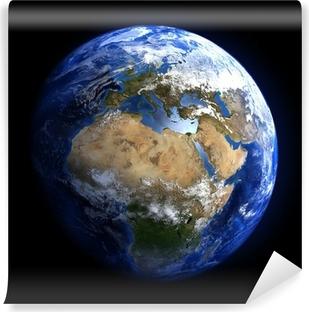 Fototapeta winylowa Ziemi z przestrzeni pokazano w Europie i Afryce.