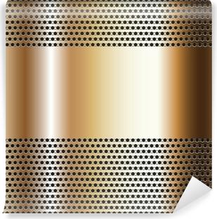 Fototapeta winylowa Złote tło blacha perforowana