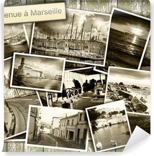 Fototapeta zmywalna Collage widoki Marsylia, czarno-białych zdjęć na drewnianym b