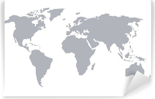 Fototapeta zmywalna Mapa świata. Program stylizowane szary stałe.