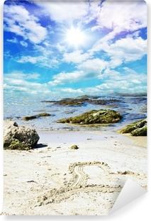 Fototapeta zmywalna Memory of Love wakacyjny: Serce w piasku