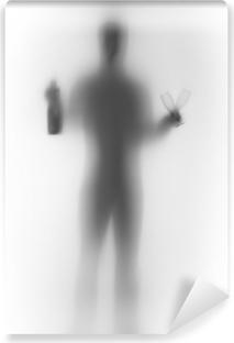 Fototapeta zmywalna Męskiej sylwetki ciała ludzkiego, z butelki i szklanki