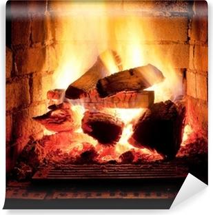 Fototapeta zmywalna Ogień w kominku