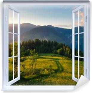 Fototapeta zmywalna Okno białe otwarte - Górskie doliny
