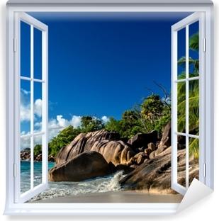 Fototapeta zmywalna Okno białe otwarte - Tropiki