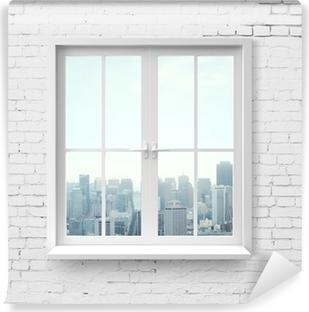 Fototapeta zmywalna Okno z widokiem na wieżowiec