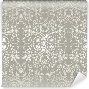Fototapeta zmywalna Powtarzalne srebrny koronki kwiatów i liści tapety