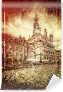 Fototapeta zmywalna Ratusz na starym rynku w Poznaniu styl retro