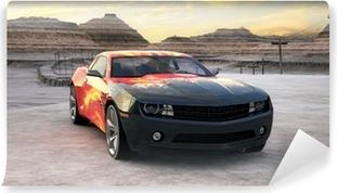 Fototapeta zmywalna Samochód sportowy w pustyni sceny 3d sunrise