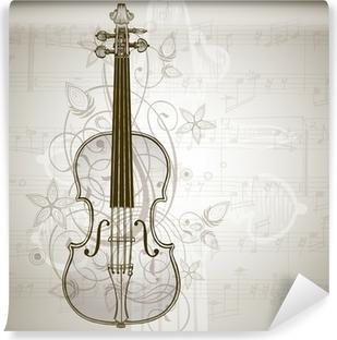 Fototapeta zmywalna Skrzypce, arkusze muzyki i rocznika kwiatowy ornament
