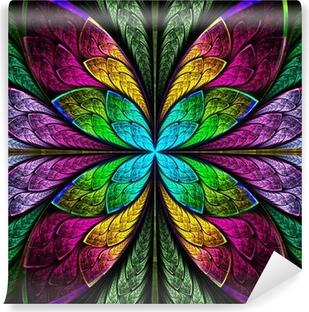 Fototapeta zmywalna Symetryczne wielokolorowy fraktal kwiat w stylu barwionego szkła. Co