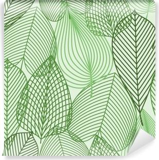 Fototapeta zmywalna Wiosną zielone liście szwu wzór