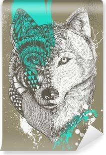 Fototapeta zmywalna Zentangle stylizowane wilk splatters farby, Ręcznie rysowane ilustracji