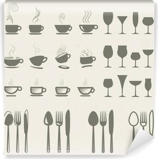 Fototapeta zmywalna Zestaw ikon wektorowych do jedzenia i picia