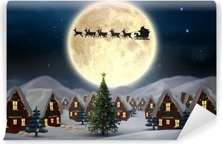 Fototapeta zmywalna Złożony obraz cute Boże Narodzenie wsi
