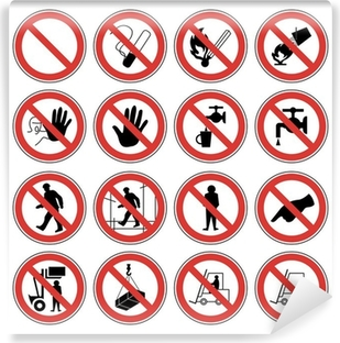 Fototapeta winylowa Znaki ostrzegawcze wektorowe ikony dla bezpieczeństwa pracy