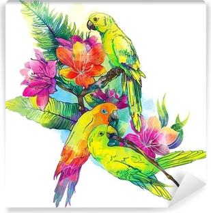 Fototapeta winylowa Żółte papugi i egzotyczne kwiaty