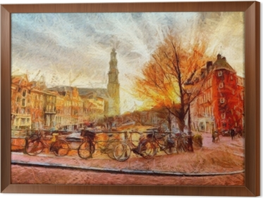 Amsterdam canal at evening impressionistic painting Framed Canvas