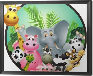 animal cartoon Framed Canvas