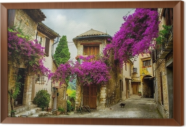 art beautiful old town of Provence Framed Canvas
