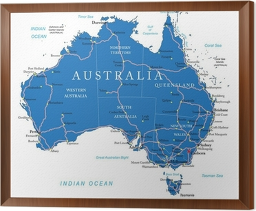 Australia road map wall mural pixers we live to change australia road map framed canvas gumiabroncs Gallery