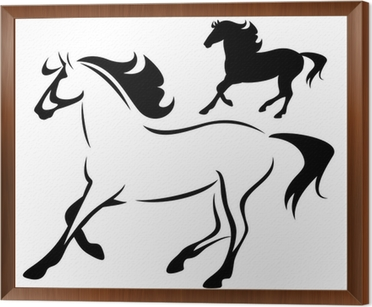 Beautiful Running Horse Outline And Silhouette Poster Pixers We Live To Change