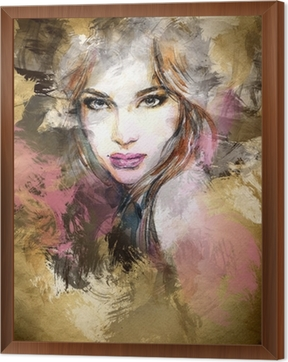 Beautiful woman face. watercolor illustration Framed Canvas