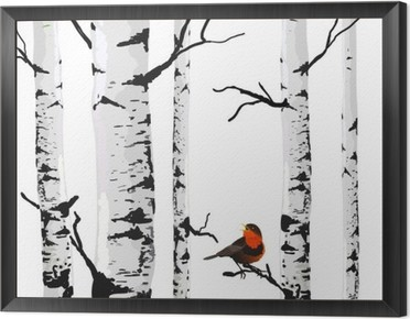 Bird of birches, vector drawing with editable elements. Framed Canvas