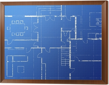 Blueprint wall mural pixers we live to change blueprint framed canvas malvernweather Image collections