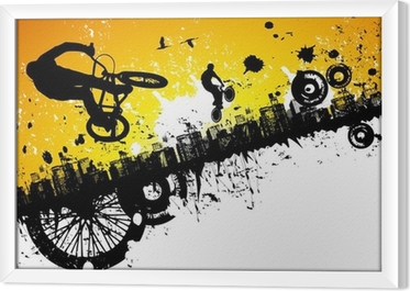 BMX riders in a city background Framed Canvas