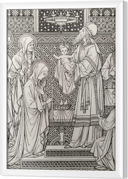 BRATISLAVA, SLOVAKIA, NOVEMBER - 21, 2016: The lithography of Presentation in the Temple by unknown artist with the initials F.M.S from end of 19. cent. and printed by Typis Friderici Pustet. Framed Canvas