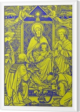 BRATISLAVA, SLOVAKIA, NOVEMBER - 21, 2016: The lithography of Three Magi in Missale Romanum by unknown artist with the initials F.M.S from end of 19. cent. and printed by Typis Friderici Pustet. Framed Canvas