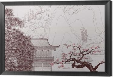 Chinese landscape Framed Canvas