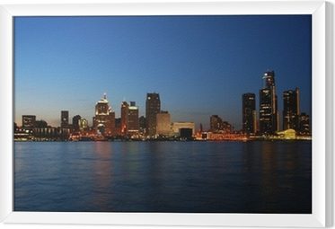 City skyline at night - Detroit, Michigan Framed Canvas