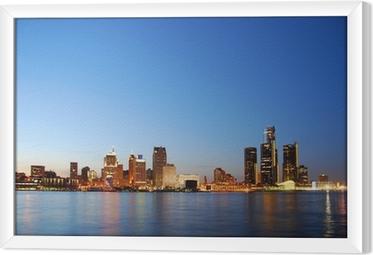 City skyline by night (Detroit, Michigan) Framed Canvas
