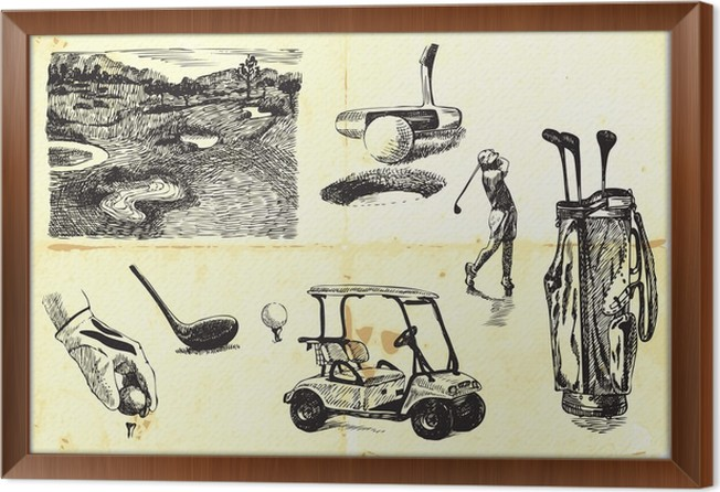 collection of hand-drawn Golf Framed Canvas • Pixers® • We live to ...
