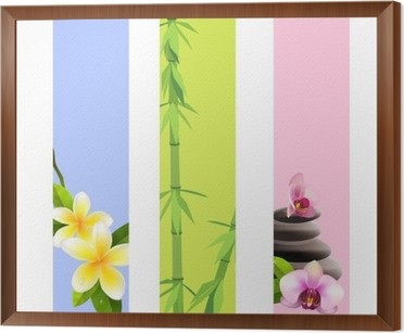 Collection Of Vertical Spa Banners With Bamboo And Orchids