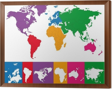 Color map of the world with continent borders wall mural pixers color map of the world with continent borders framed canvas gumiabroncs Choice Image