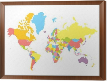 Colorfull vector political world map on white background each colorfull vector political world map on white background each country colored in different color gumiabroncs Image collections